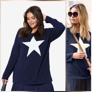 Ellos star sweater navy / ivory sz 26 / 28